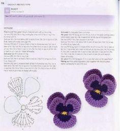 crochet - pansy pattern by maryann maltby