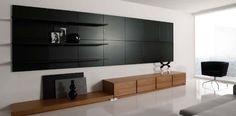 Living Room:Black And White Living Room Design Graceful White Living Room With Black Wooden Wall Unit As Shelves Idea
