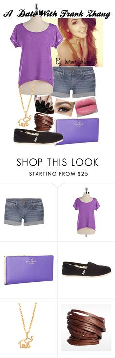 """A Date With Frank Zhang"" by heroes-fashion ❤ liked on Polyvore featuring Tsu.ya, Urban Decay, Kate Spade, TOMS, BaubleBar and Linea Pelle"