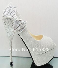 FREE  SHOPPING  !!!!!!Silver Super High Heels Party Queen Platform With Glitter Crystal Bridal Shoes