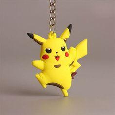 3D Anime Pokemon Go Key Ring Pikachu Keychain Pendant Mini Charmander Squirtle Bulbasaur