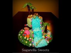 Fondant cake decorating - How to make a Dora the explorer cake -and waterfall  YouTube