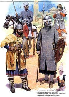 Warriors of Islamic Spain: Andalusian infantryman, Andalusian cavalryman, Berber-Andalusian light cavalryman, Andalusian infantry archer