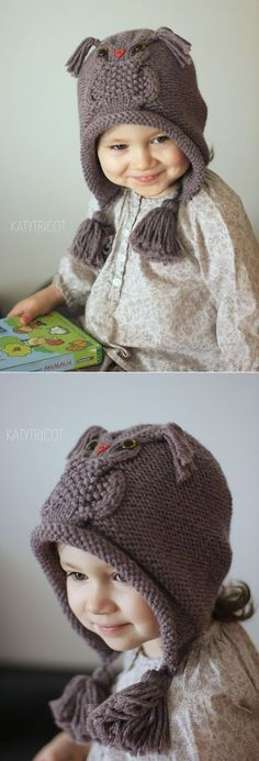 "Ravelry: Сова пути Hat шаблон Екатерина Бланшар [ ""Ravelry: Owl Hat Pattern way Catherine Blanchard"" ] # # # # # # Baby Knitting Patterns, Knitting For Kids, Crochet For Kids, Baby Patterns, Knitting Projects, Crochet Patterns, Knitted Blankets, Knitted Hats, Crochet Cap"