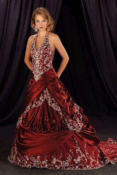 A-line Halter Red Evening Gown Prom Dress