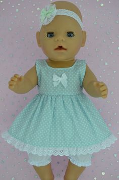 Play n Wear Doll Clothes To Fit 17  Baby Born POLKA DOT DRESS~BLOOMERS~HEADBAND