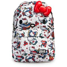 Hello Kitty Tattoo Print Face Backpack ($45) ❤ liked on Polyvore featuring bags, backpacks, hello kitty bag, bow bag, hello kitty backpack, white bags y bow backpack