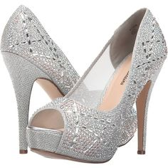Lauren Lorraine Viva (Silver) High Heels ($82) ❤ liked on Polyvore featuring shoes, pumps, silver, platform pumps, silver high heel shoes, platform shoes, peeptoe pumps and peep toe platform pumps