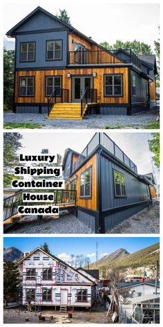Luxury Shipping Container House Canada This house in Exshaw, Bow Valley, Canada is unique and interesting. Six 40 foot shipping containers have been used in the build which were modified 'off site' which makes the build much quicker. Container Hotel, Cargo Container Homes, Building A Container Home, Container Buildings, Container House Plans, Container House Design, Shipping Container Home Designs, Shipping Containers, Sea Can Homes