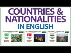 In this English lesson we look at the names of 88 countries and their corresponding nationality. We have included the flag of each country as well as a photo. Fluent English, Learn English Grammar, English Idioms, English Class, English Lessons, Advanced English Vocabulary, English Vocabulary Words, English Words