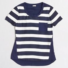J Crew Stripe Shirt Navy and white pocket tee with a solid back. Lightweight and airy feel.   ~CONDITION: New with tag   No Trades ✅ Discounted Bundles ✅ Reasonable Offers J. Crew Tops Tees - Short Sleeve