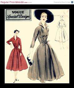 Original Dress from Hell --- ON SALE Vintage 50's Vogue Special Design Sewing by anne8865, $49.50