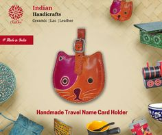 You can use this cool cat faced travel name card holder to keep all your visiting cards, keys or some loose change. #CardHolder #LeatherItems #handicraft