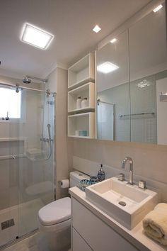 Decoração de banheiro com nicho simples