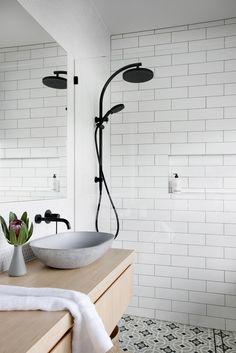 Plascon House Tour: Modern Abode With Bold Black Accents - SA Decor & Design Modern Bathroom Design, Bathroom Interior Design, Bathroom Designs, Bathroom Inspiration, Bathroom Ideas, Small Bathroom, Bathroom Inspo, Bathroom Organization, Bathroom Renovations