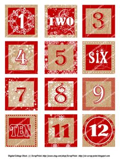 Printable DECEMBER DAILY NUMBERS red squares (1, 1.5 or 2 inch), Advent Calendar, Digital Collage Sheet, journaling, Christmas. Project Life. £2.00, via Etsy.