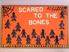 Halloween bulletin board idea where students create skeletons. #bulletinboard @schooloutfitters