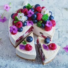Coconut, lemon and berry cheesecake