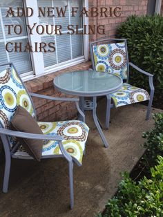 How to add new fabric to a patio sling chair, diy project                                                                                                                                                      More