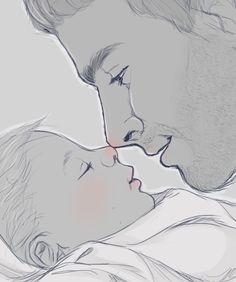 """Hi, little princess."" Cullen and daughter"
