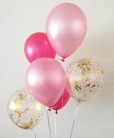 Welcome to Oh How Charming! This listing is for (2) pearl pink (2) pearl hot rose and (2) gold mylar confetti 11 latex balloons. ~ Balloons ship flat & deflated ~ Clear Balloons are pre-stuffed with confetti ~ Can be filled with air or helium ~ Filling balloons with air will not float