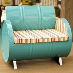 Drum Barrel Furniture The Topsail Armchair is made from a recycled and repurposed steel drum. The metal is electrostatically sprayed using environmentally friendly powder coat with low VOC finishes an