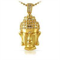 Clean Buddha Head CZ Gold Hip Hop Pendant