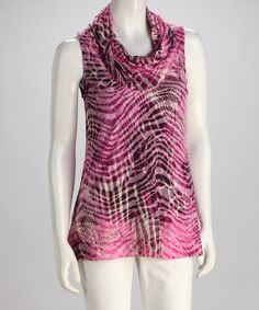 Take a look at this Fuchsia Jungle Burnout Cowl Neck Top on zulily today!