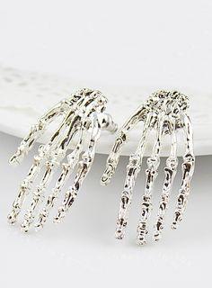 Silver Skeleton Hand Stud Earrings - Sheinside.com