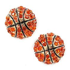 best loved 31825 41963 Sport Basketball Crystal Rhinestone 14mm Drop Stud Fashion Earrings Gold  Orange