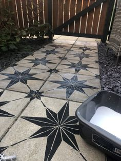 How to makeover a concrete slab patio/path for under 40 > Let's Talk. How to makeover a concrete slab patio/path for under 40 > Let's Talk. Concrete Patios, Painted Patio Concrete, Concrete Backyard, Paving Slabs, Paving Stones, Stepping Stones, Outdoor Spaces, Outdoor Living, Outdoor Decor