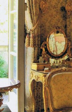 lovely elements-dressing table mirror, windows, curtains, wallpaper
