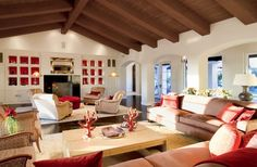 Mediterranean family room, tongue and groove ceiling.