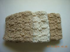 Hand Knitted Cotton Dish Cloths in Cream and Tan by LoveToSewBags $6