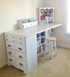 Use old dresser to make a take. Can also use old book shelf or cubby for other side