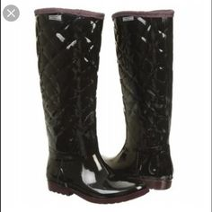 Sturdy Tommy Hilfiger Rain Boots Hilfiger rain boots with a cute quilted pattern. They are thick to keep your feet warm and dry. I've only worn these a few times because they are small on me. These run true to size. not hunter just listed for exposure Hunter Boots Shoes Winter & Rain Boots