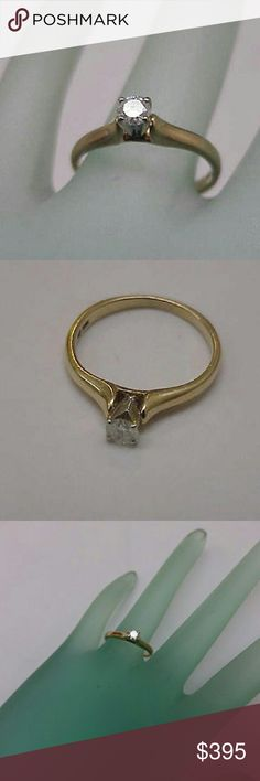 10k gold .20carat vs/g brilliant cut diamond ring Fine brilliant cut diamond .20carat( 4mm) G  in color and vs in clarity  (very clean and bright ). Hallmarked 10k and 1/5 (diamond weight ). Size 6 1/2. Jewelry Rings