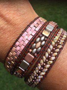 Bracelets for Women – Fine Sea Glass Jewelry Leather Cord Bracelets, Beaded Wrap Bracelets, Leather Earrings, Leather Jewelry, Bangle Bracelets, Super Duo Beads, Beaded Leather Wraps, Handmade Beaded Jewelry, Bracelet Making