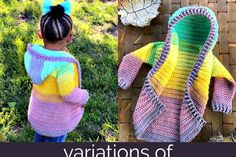 Painted Canyon Cardigan Video Tutorial and Pattern Variations - babys Crochet Hoodie, Baby Cardigan Knitting Pattern, Crochet Shawl, Crochet Stitches, Baby Knitting, Knit Crochet, Crochet Toddler, Crochet For Boys, Crochet Baby