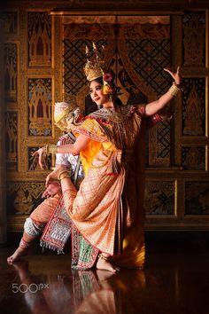 Khon Mask Hanuman in Ayutthaya, traditional Tahiland dance, by Atipan Khantalee