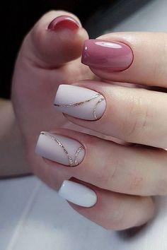 35 Simple Ideas for Wedding Nails Design - How to use nail polish? Nail polish on your friend's nails l Cute Acrylic Nails, Cute Nails, Pretty Nails, White Gel Nails, Pale Pink Nails, Cute Simple Nails, Pink Nail Art, Black Nail, Pink Glitter
