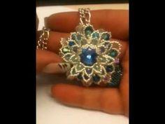 DIY Tutorial ciondolo con perline superduo, Fiore Barocco, orecchini, bracciali, collane, spille - YouTube