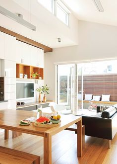 Home tour: breathing space - Homes, Bathroom, Kitchen & Outdoor Open Space Living, Open Plan Living, Living Spaces, Living Room, Timber Table, Interior Architecture, Interior Design, Melbourne House, House Tours