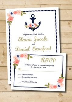 Nautical Floral Navy and Gold wedding Invitation and Response card - Digital Files