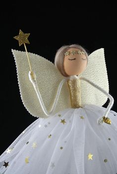 Unique Christmas Trees, Christmas Fairy, Christmas Tree Toppers, Handmade Christmas, Flower Band, Fairy Tree, She Is Gorgeous, Glitter Stars, Fairy Dolls