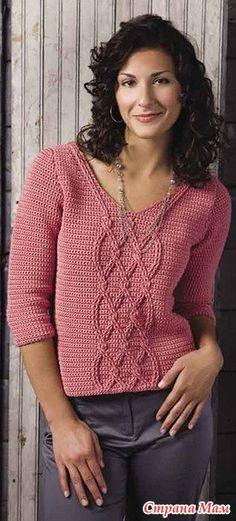 . Красивый пуловер крючком - Все в ажуре... (вязание крючком) - Страна Мам