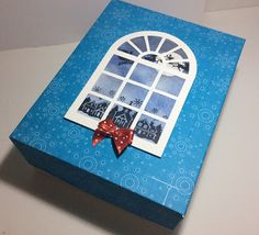 Christmas gift box. More options on my my blog and a tutorial for for creating the windows.