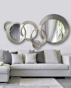 Fascinating Cool Tips: Leaning Wall Mirror wall mirror vintage sinks.Wall Mirror Above Couch Spaces wall mirror vintage sinks. Living Room Mirrors, Living Room Decor, Mirror Bedroom, Bedroom Wall, Above Couch, Rustic Wall Mirrors, Silver Wall Mirror, Cool Walls, Home Interior Design