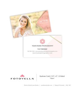 """Photography Business Card Template • """"GLAM"""" by FOTOVELLA • Featured image © Sarah Lane Studios / Studio 12"""