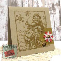 Red Rubber Designs | Vintage Santa Cling Mount Stamp | Mynn Kitchen | Handmade Christmas Card